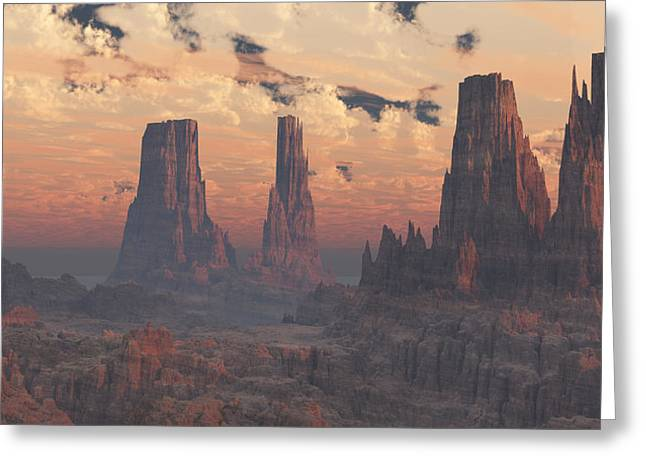 Dusk At The Towers Greeting Card