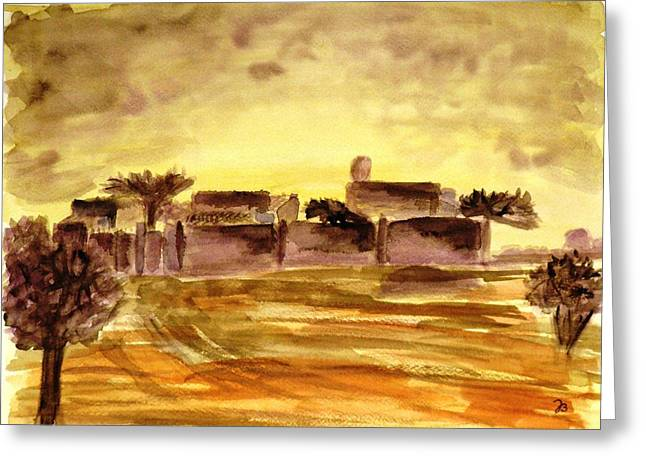 Dusk In An African Village Greeting Card