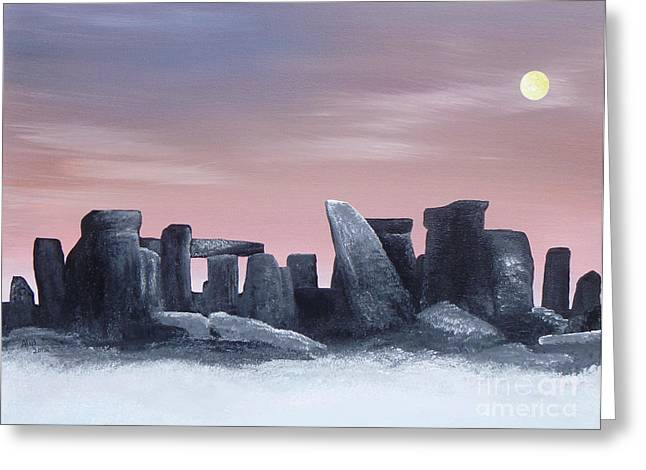 Dusk On The Winter Solstice At Stonehenge 1877 Greeting Card by Alys Caviness-Gober