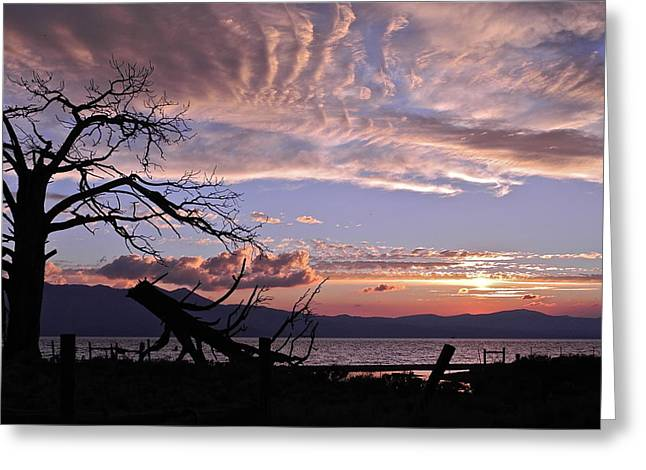 Greeting Card featuring the photograph Dusk Over Lake Tahoe by Kirsten Giving