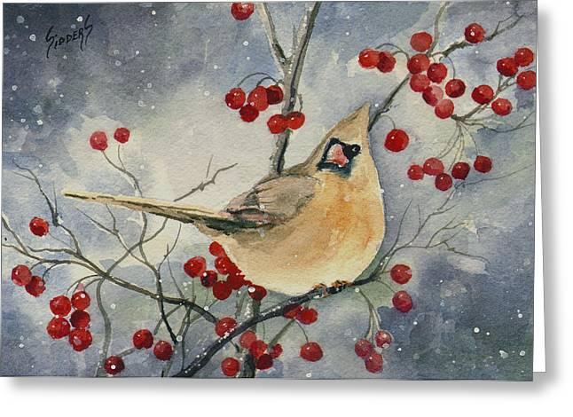 Dustie's Cardinal Greeting Card by Sam Sidders