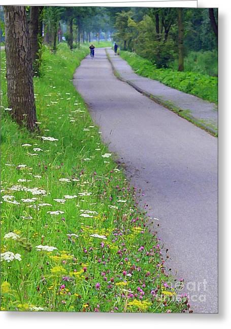Dutch Bicycle Path - Digital Painting Greeting Card by Carol Groenen
