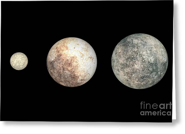 Dwarf Planets Ceres, Pluto, And Eris Greeting Card by Walter Myers