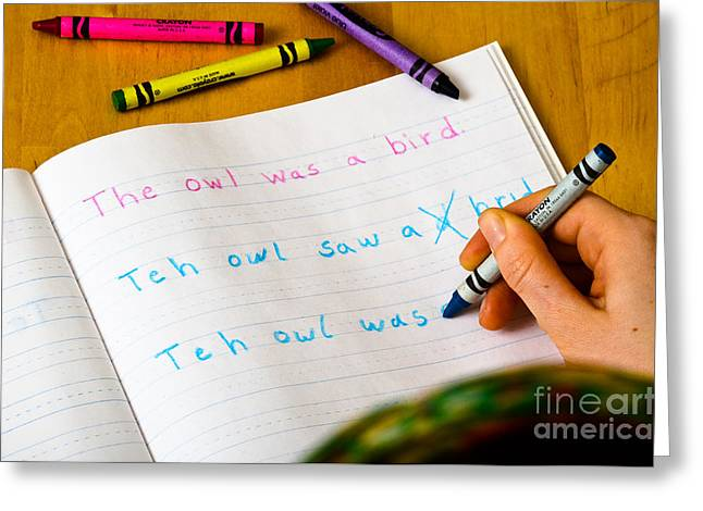Dyslexia Testing Greeting Card by Photo Researchers Inc