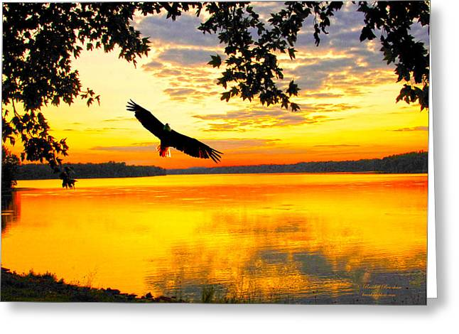 Greeting Card featuring the photograph Eagle At Sunset by Randall Branham