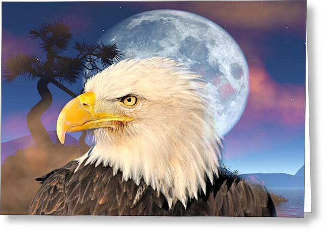 Eagle Moon Greeting Card by Marty Koch