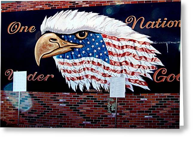 Eagle Mural Greeting Card by Nick Kloepping