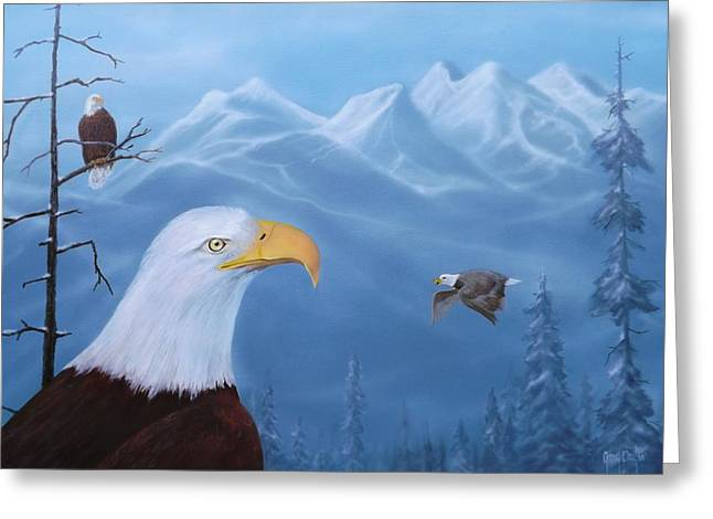 Eagles In The Tetons Greeting Card