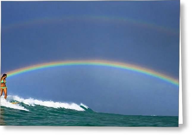 Ealy Morning Rainbow Surf Greeting Card by Li Ansefelt Thornton