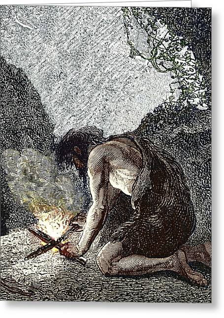 Early Human Making Fire Greeting Card