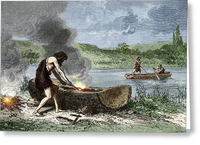 Early Humans Building And Using Boats Greeting Card by Sheila Terry