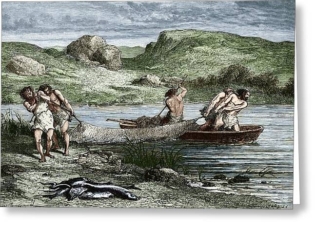 Early Humans Fishing Greeting Card