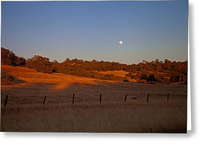Early Moon Over Campo Seco Greeting Card by Joe Fernandez