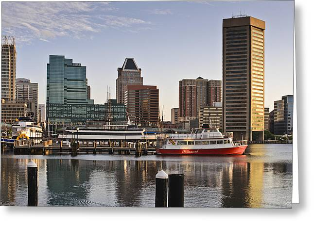 Early Morning Baltimore Inner Harbor Greeting Card by Marianne Campolongo