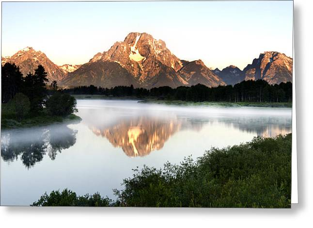 Early Morning Fog Oxbow Bend Greeting Card by Paul Cannon