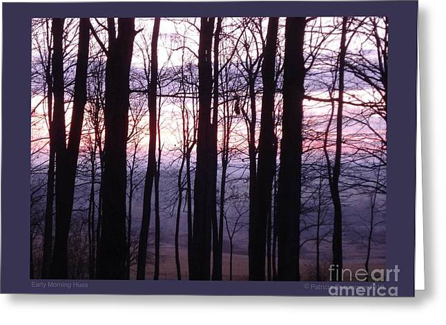 Early Morning Hues Greeting Card by Patricia Overmoyer