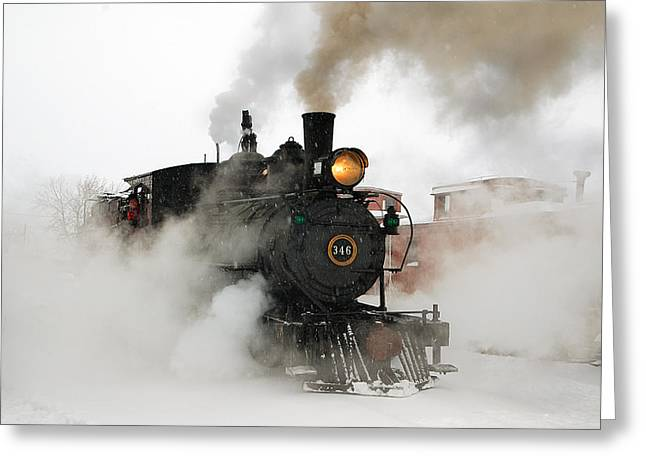 Early Morning Winter Steam Up Greeting Card by Ken Smith