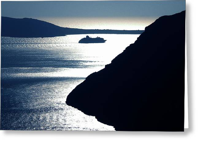 Greeting Card featuring the photograph Early Night Santorini Island Greece by Colette V Hera  Guggenheim