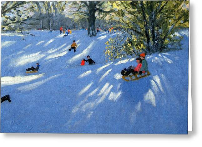 Early Snow Greeting Card by Andrew Macara