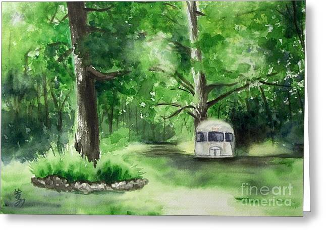 Greeting Card featuring the painting Early Summer At The Geddes Farm --ann Arbor Michigan by Yoshiko Mishina