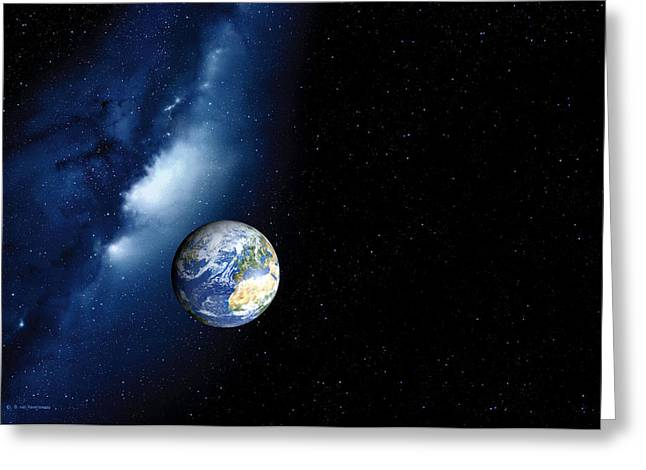 Earth And Milky Way, Computer Artwork Greeting Card by Detlev Van Ravenswaay