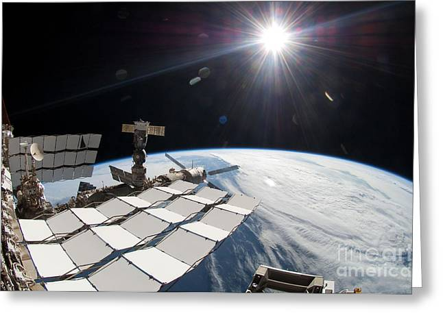 Earth And Sun Viewed From The I.s.s Greeting Card by NASA/Science Source