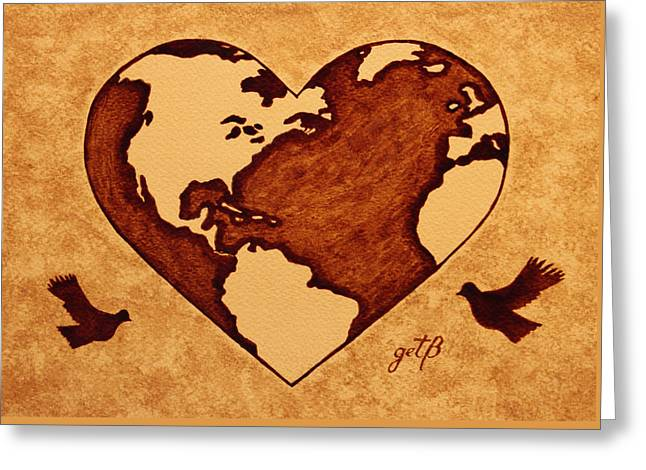 Earth Day Gaia Celebration Coffee Painting Greeting Card