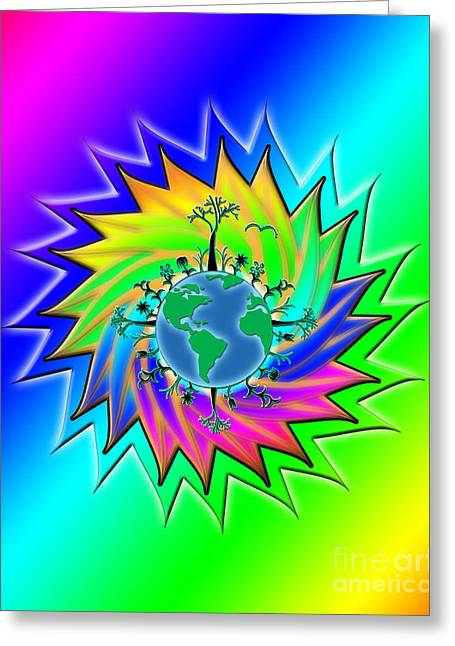 Earth Day Sunburst Transparent Greeting Card by Linda Seacord
