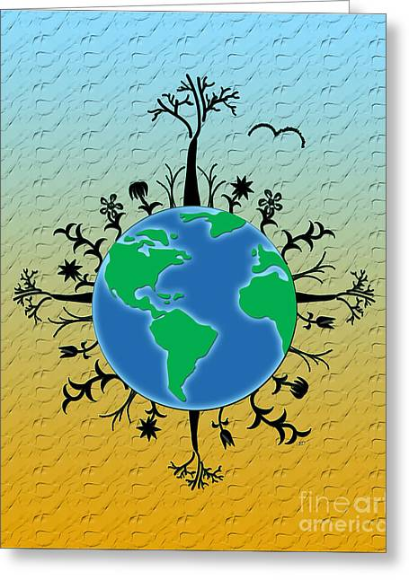 Earth Day Texture Greeting Card by Linda Seacord