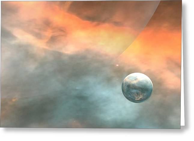 Greeting Card featuring the digital art Earth by John Pangia