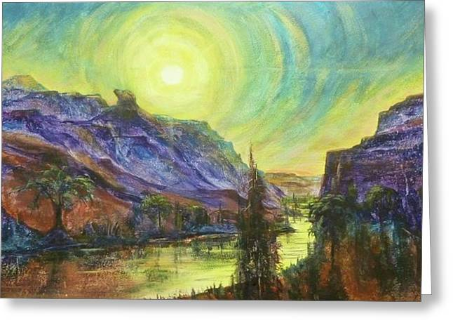 Earth Light Series Wolf Butte Sun Greeting Card by Len Sodenkamp