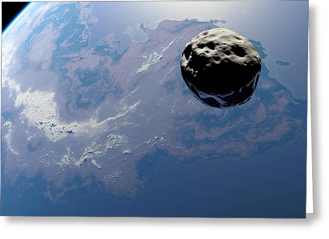 Earth-like Planet And Asteroid, Artwork Greeting Card by Detlev Van Ravenswaay
