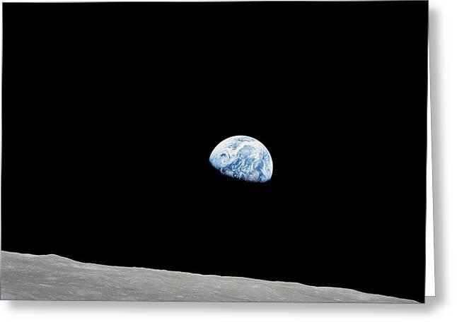 Earth Rising Above The Lunar Horizon Greeting Card