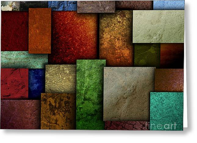 Earth Tone Texture Square Patterns Greeting Card by Angela Waye