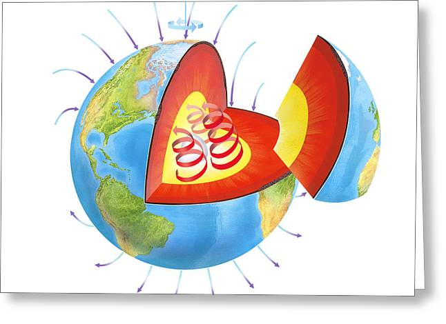 Earth's Magnetic Field Greeting Card by Gary Hincks