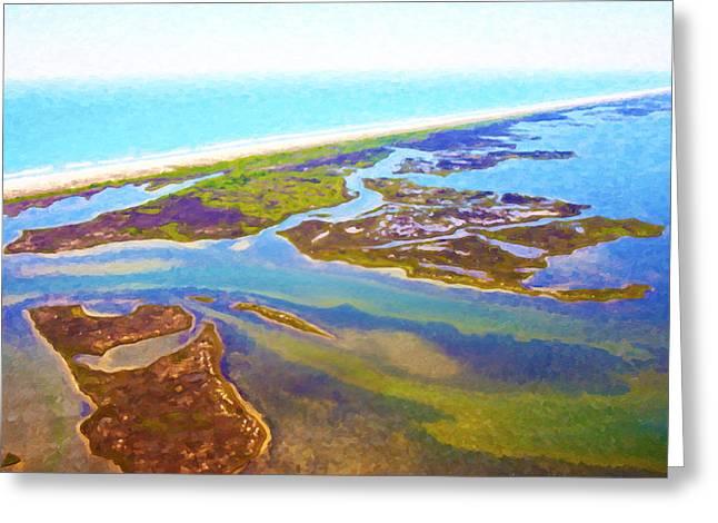 East Coast Aerial Digital Oil Greeting Card