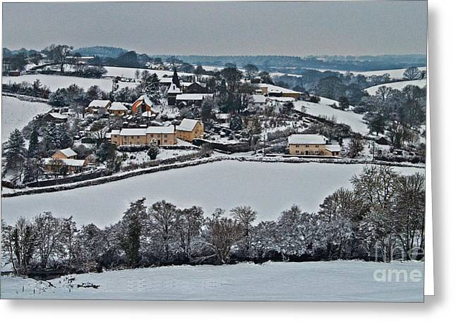 East Worlington In The Snow  Greeting Card by Rob Hawkins