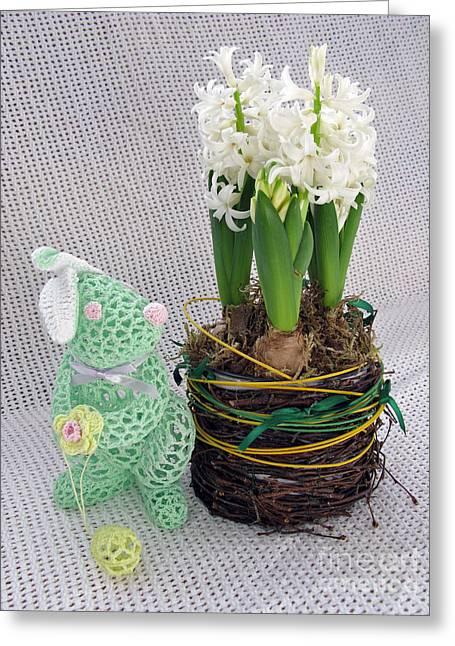 Easter Bunny Greeting Greeting Card by Ausra Huntington nee Paulauskaite