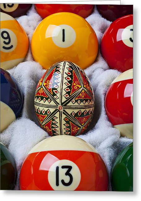 Easter Egg Among Pool Balls Greeting Card by Garry Gay