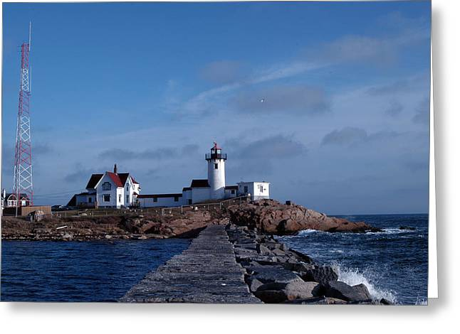 Eastern Point Light Greeting Card by Mike Martin
