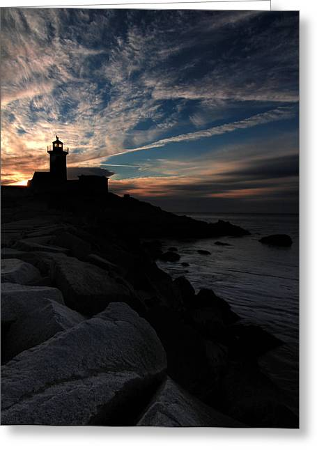 Eastern Point Lighthouse At Sunrise Greeting Card by Dave Sribnik