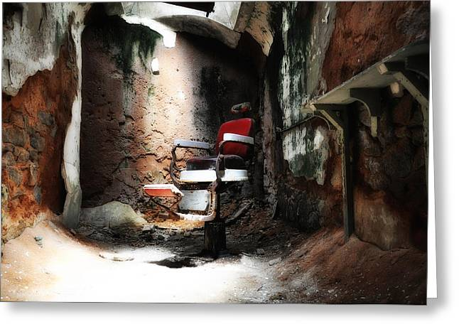 Eastern State Penitentiary - Barber's Chair Greeting Card by Bill Cannon