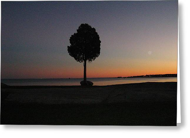 Greeting Card featuring the photograph Eastern Sunset And Moon Rise by Bruce Carpenter