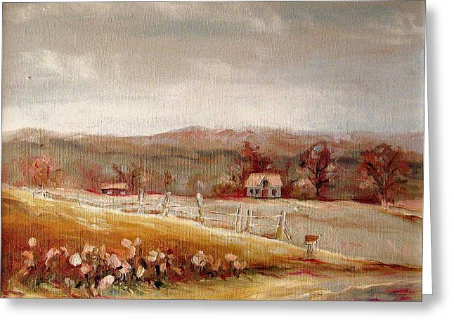 Eastern Townships Quebec Painting Greeting Card by Carole Spandau
