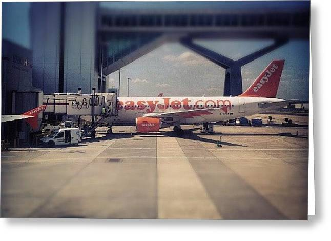 #easyjet #gatwick #airplane #airport Greeting Card by Abdelrahman Alawwad