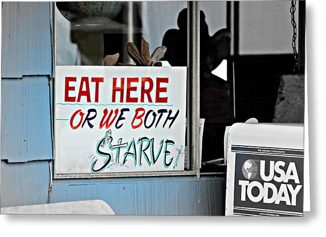 Eat Here Greeting Card