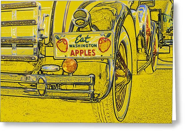 Greeting Card featuring the digital art Eat Washington Apples by Anne Mott