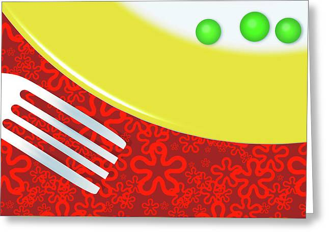 Eat Your Peas Greeting Card by Richard Rizzo