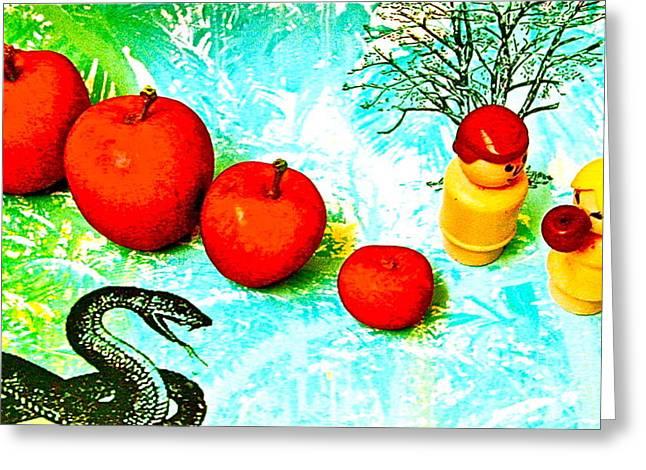 Eating Apples Greeting Card by Ricky Sencion