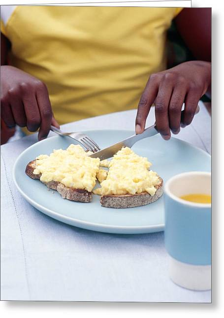Eating Scrambled Eggs On Toast Greeting Card by Veronique Leplat